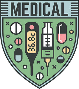 Cool Cute Health Care Services Cartoon Logo Icon Art - Medical Shield Vinyl Sticker