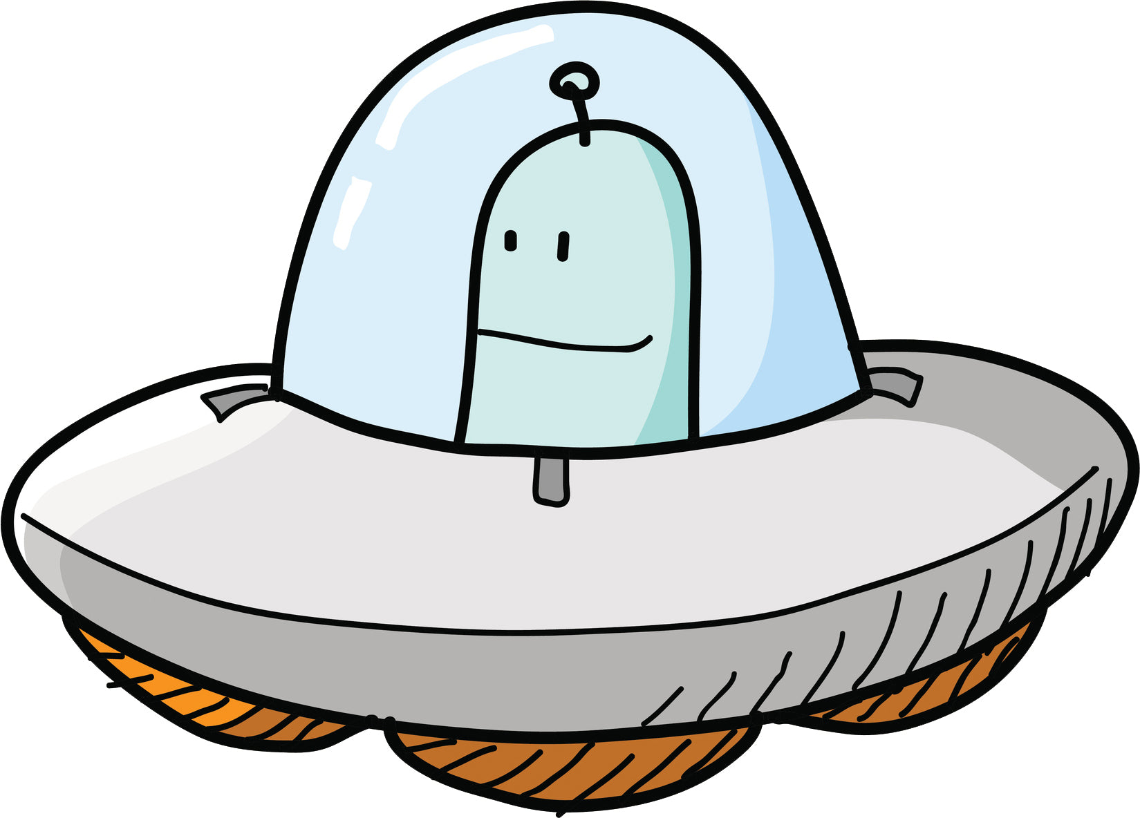 Cool Cute Pen Sketch Retro Cartoon Spaceship Vinyl Sticker