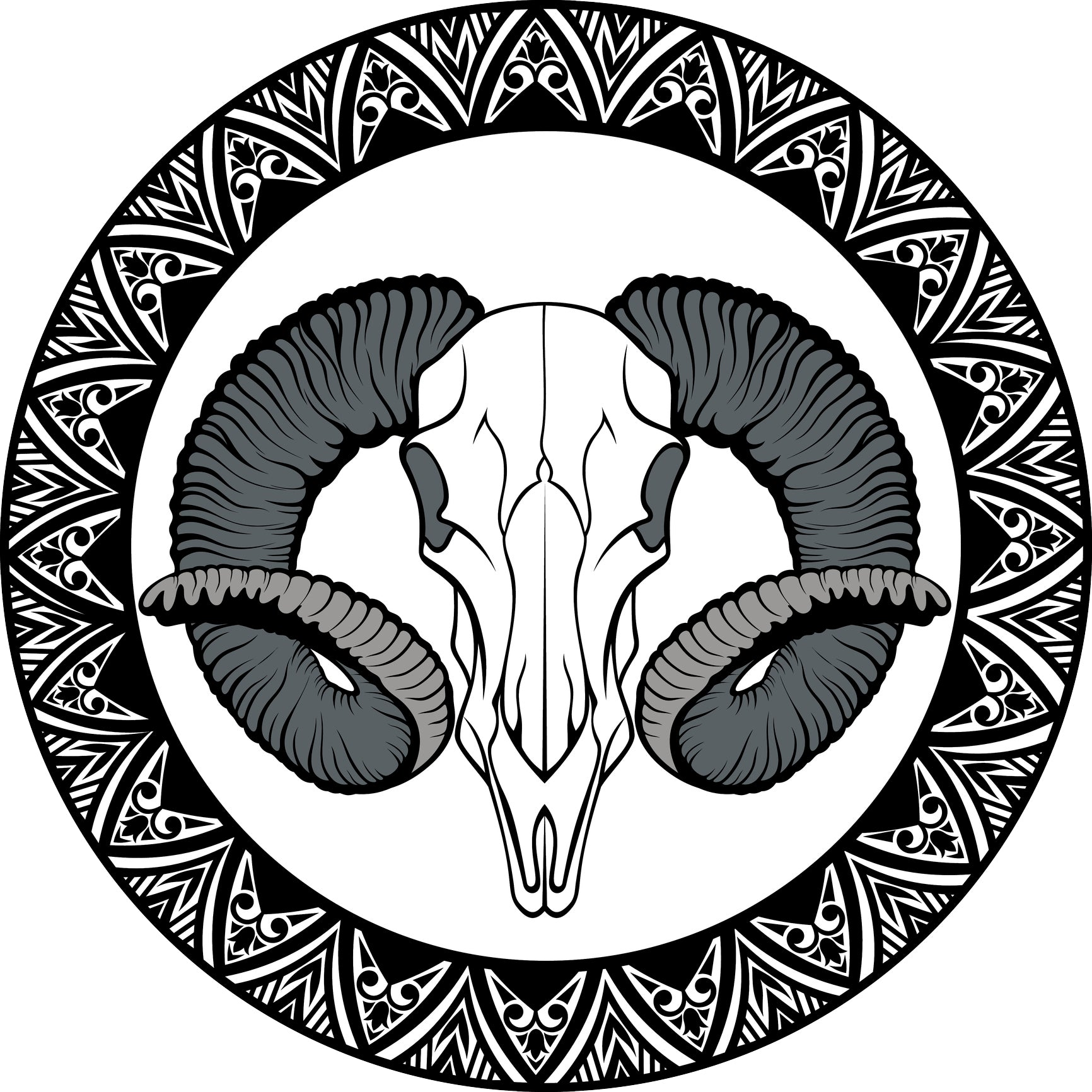 Cool Desert Skull Animal with Tribal Mandala Border Icon Vinyl Sticker