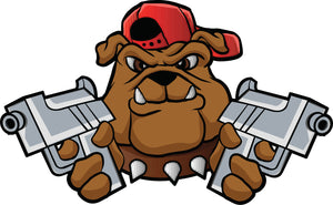 Cool Gangster Bulldog with Guns Cartoon Vinyl Decal Sticker