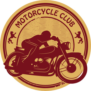 Cool Gold and Maroon Motorcycle Club Token Cartoon Icon Vinyl Sticker