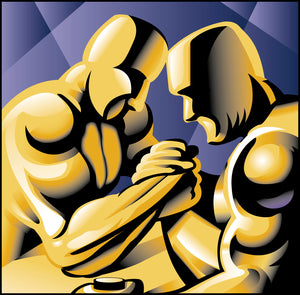 Cool Golden Muscle Men Arm Wrestle Abstract Art Icon Vinyl Sticker