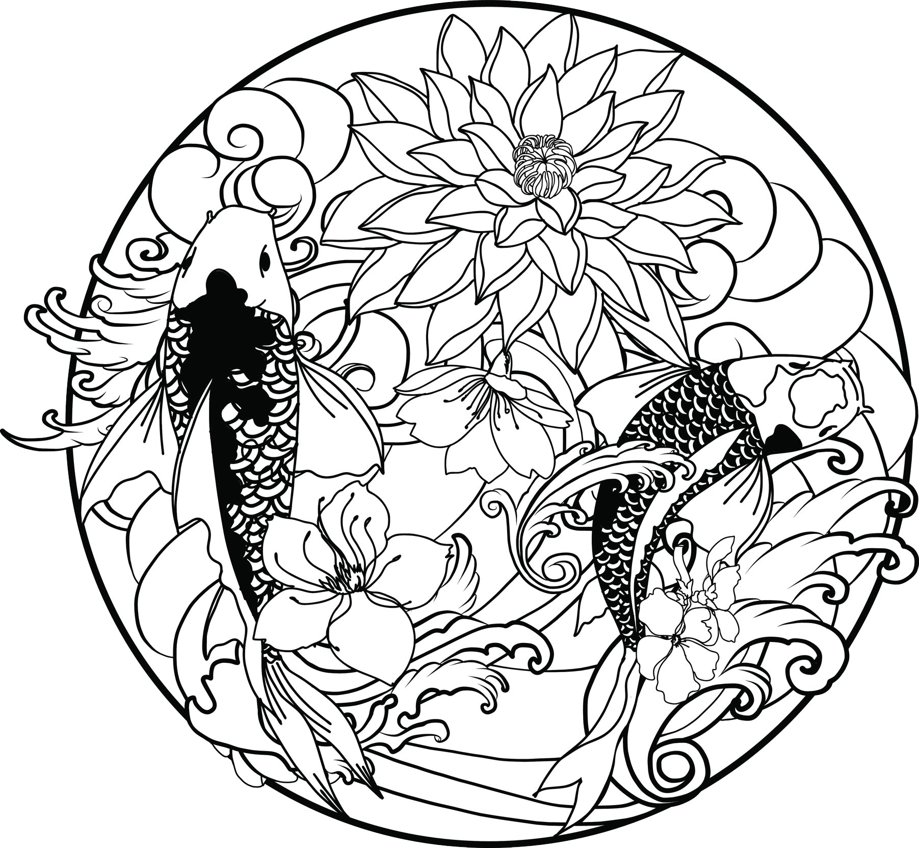 Cool japanese koi fish flowers and waves cartoon icon black and white vinyl sticker