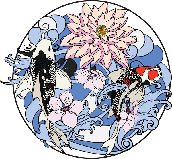 7ed55104f Cool Japanese Koi Fish Flowers and Waves Cartoon Icon - Colorful #4 Vinyl  Sticker