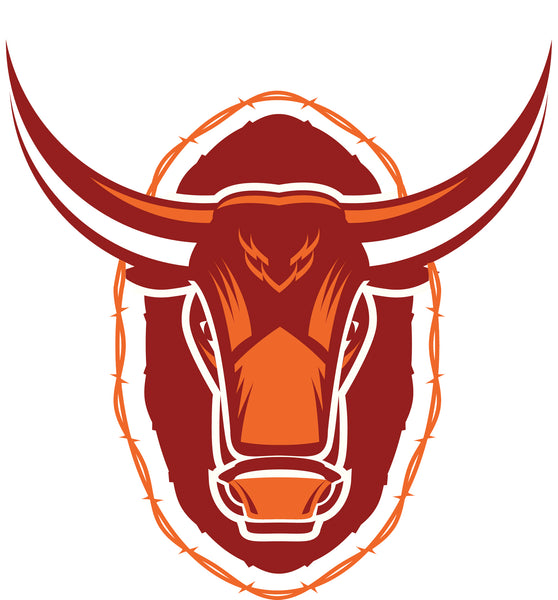 Cool Maroon Orange Bull Cartoon Logo Icon Vinyl Sticker