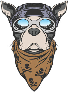 Cool Motorcycle Gang Frenchie French Bulldog Vinyl Decal Sticker
