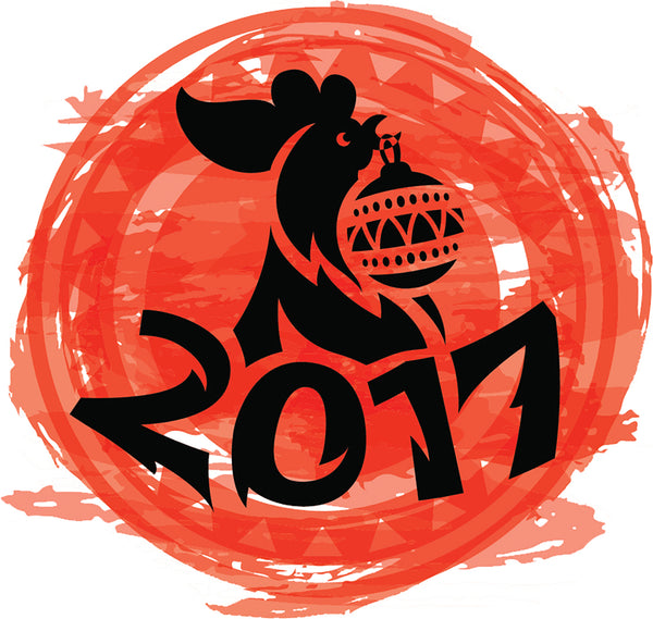 Cool Orange 2017 Year of the Rooster Asian Zodiac Cartoon Icon #1 Vinyl Sticker
