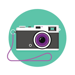 Cool Point and Shoot Vintage Camera Icon with Purple Lens and Strap Vinyl Sticker