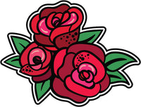 Cool Retro Vintage Asian Tattoo Style Art Violent - Red Roses Vinyl Sticker