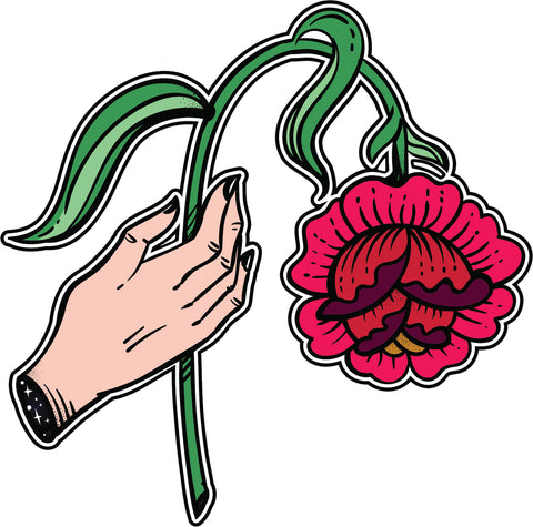 Cool Retro Vintage Asian Tattoo Style Art Violent - Wilted Rose Vinyl Sticker