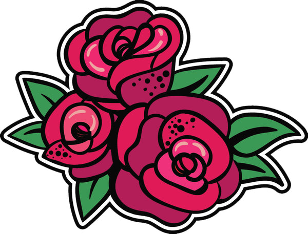 Cool Retro Vintage Asian Tattoo Style Art Violent Cartoon - Roses Vinyl Sticker