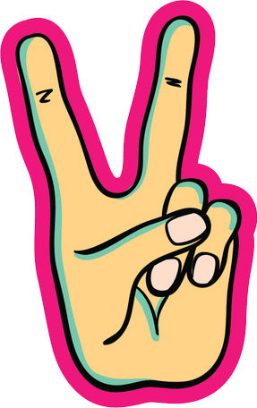 Cool Retro Vintage Hand Symbols Cartoon Art #7 Vinyl Sticker