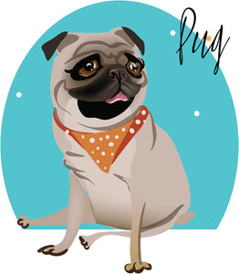 Cool Sassy Spoiled House Pet Cartoon Icon - Pug Puppy Dog Vinyl Decal Sticker