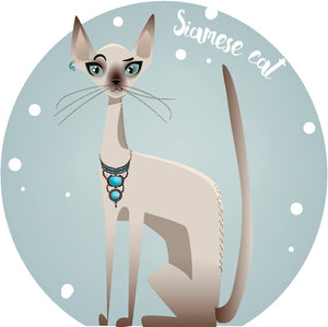Cool Sassy Spoiled House Pet Cartoon Icon - Siamese Cat Vinyl Decal Sticker