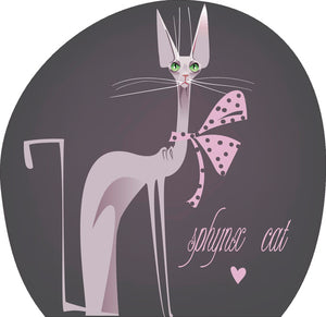 Cool Sassy Spoiled House Pet Cartoon Icon - Sphynx Cat Vinyl Decal Sticker