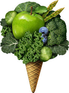 Cool Scoop of Food in Ice Cream Cone Art - Healthy Greens Vinyl Sticker