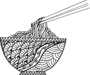 Cool Simple Black and White Pen Art Bowl of Noodles Cartoon #1 Vinyl Sticker