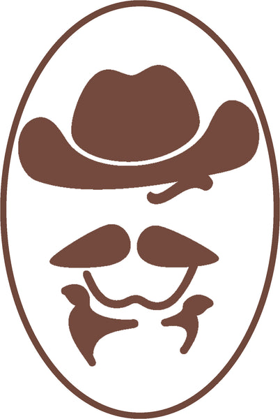 Cool Simple Brown Cowboy Face Silhouette Cartoon #5 Border Around Image As Shown Vinyl Sticker