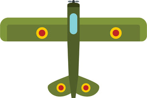 Cool Simple Fighter Military Plane Jet Cartoon - Green and Yellow Vinyl Sticker