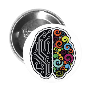 Round Pinback Button Pin Brooch Cool Simple Left Right Brain Cartoon Emoji