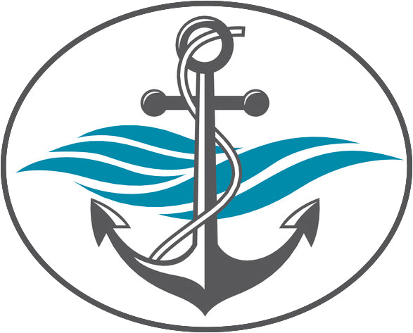 Cool Simple Nautical Ocean Waves Silhouette Cartoon Icon - Anchor #2 Border Around Image As Shown Vinyl Sticker