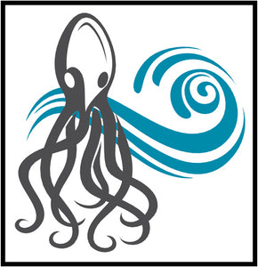 Cool Simple Nautical Ocean Waves Silhouette Cartoon Icon - Octopus #4 Border Around Image As Shown Vinyl Sticker