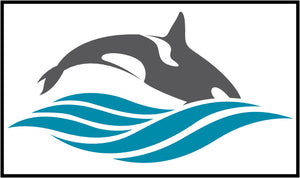 Cool Simple Nautical Ocean Waves Silhouette Cartoon Icon - Orca Whale #2 Border Around Image As Shown Vinyl Sticker