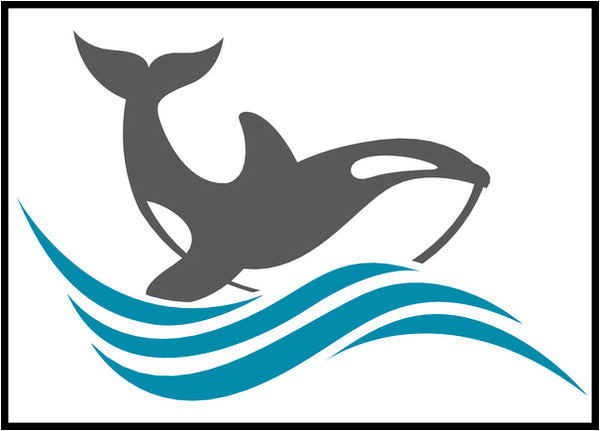 Cool Simple Nautical Ocean Waves Silhouette Cartoon Icon - Orca Whale #3 Border Around Image As Shown Vinyl Sticker