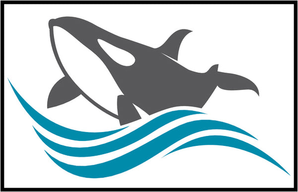 Cool Simple Nautical Ocean Waves Silhouette Cartoon Icon - Orca Whale #5 Border Around Image As Shown Vinyl Sticker