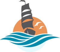 Cool Simple Nautical Ocean Waves Silhouette Cartoon Icon - Sail Boat #4 Vinyl Sticker