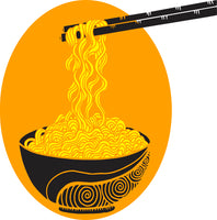 Cool Simple Pen Art Bowl of Noodles Cartoon Icon Vinyl Sticker