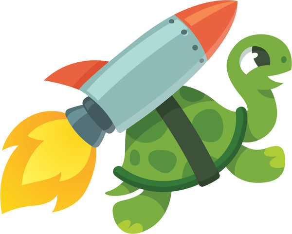 Cool Speedster Turtle Hare with Rocket Cartoon Vinyl Sticker