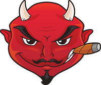 Cool Suave Evil Red Devil Head with Cigar Cartoon Vinyl Sticker