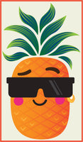 Cool Summer Pineapple Cartoon Art #1 Border Around Image As Shown Vinyl Sticker