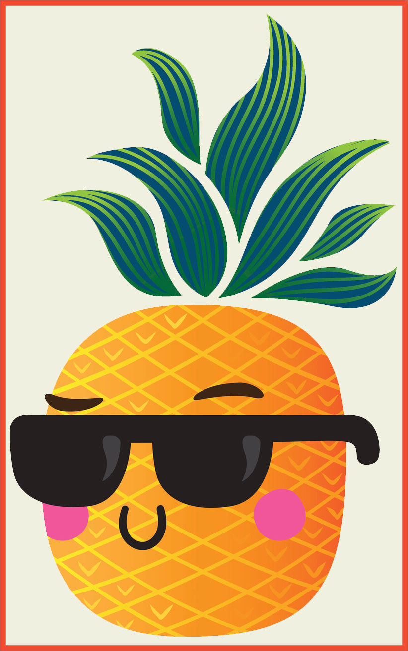 Cool Summer Pineapple Cartoon Art #2 Border Around Image As Shown Vinyl Sticker
