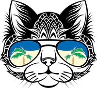 Cool Tropical Vacation Tribal Kitty Cat Cartoon Face Vinyl Sticker