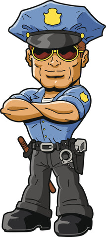 Cool Vintage Boxy Chiseled Police Cop Cartoon Vinyl Sticker