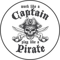 Cool Vintage Gray Cartoon Logo Icon - Pirate Captain Border Around Image As Shown Vinyl Sticker