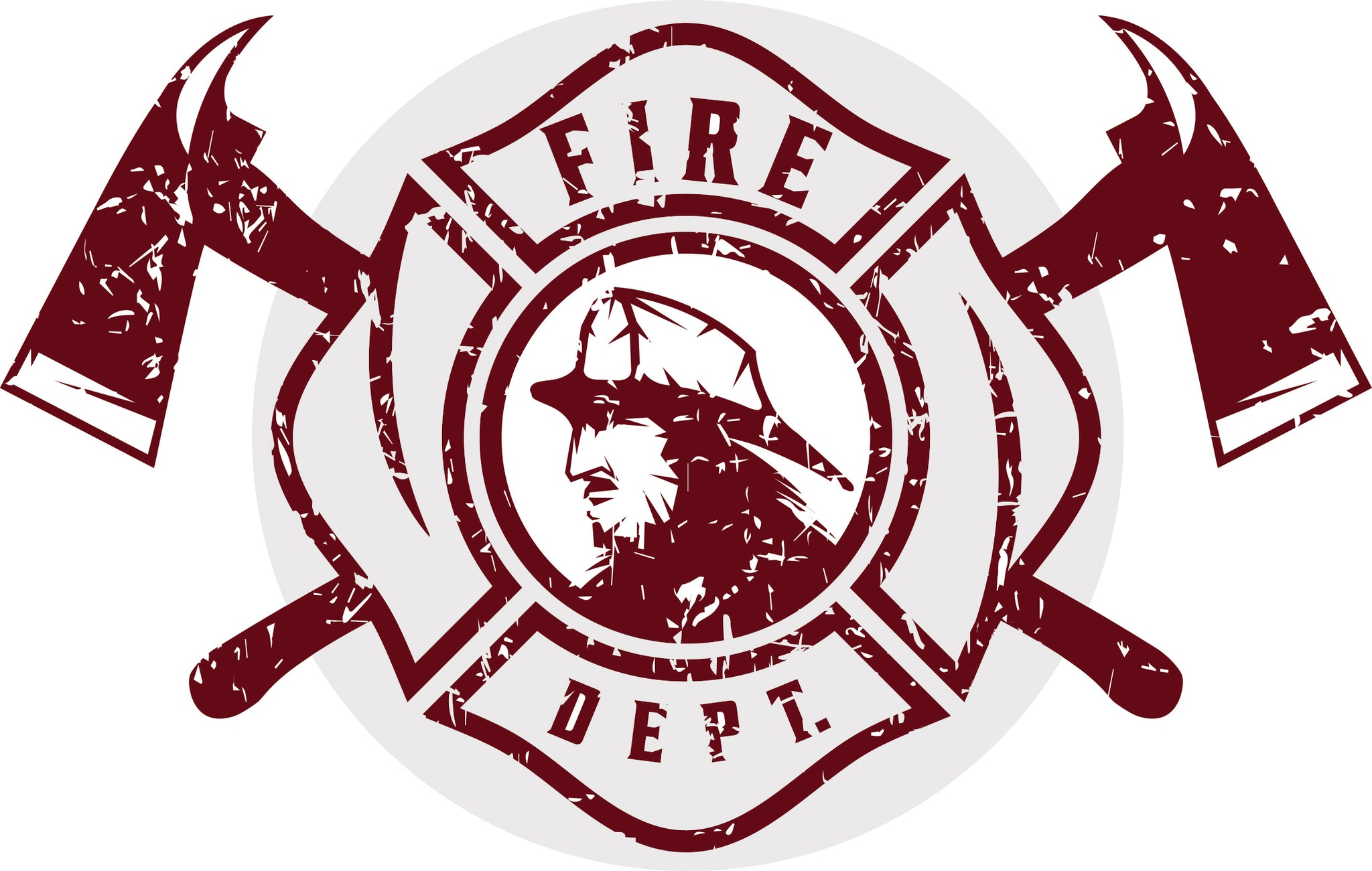Cool Vintage Maroon Fire Department Cartoon Logo Icon Vinyl Decal Sticker