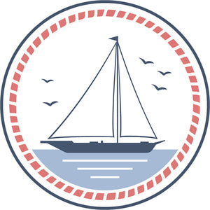 Cool Vintage Nautical Maritime Cartoon Art Logo Icon - Sailboat Border Around Image As Shown Vinyl Decal Sticker