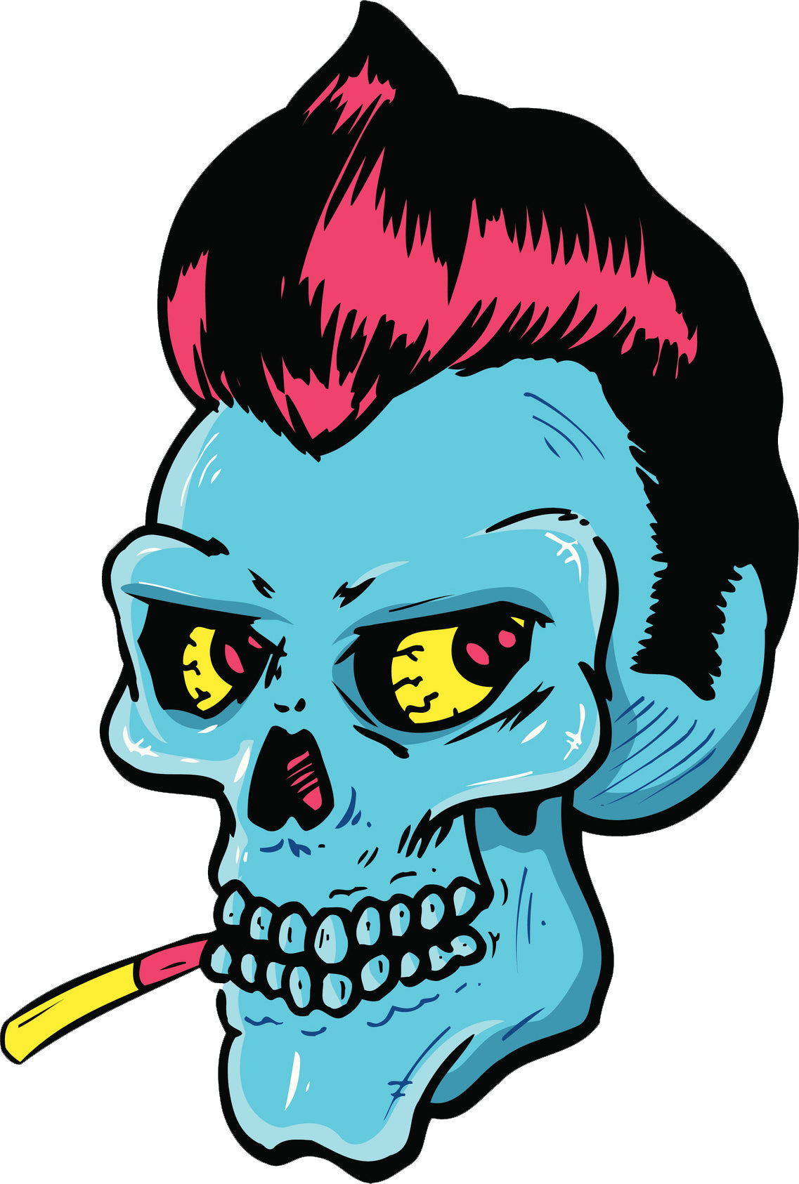 Cool Vintage Neon Suave Skull with Cigarette  and Mohawk Cartoon Vinyl Decal Sticker