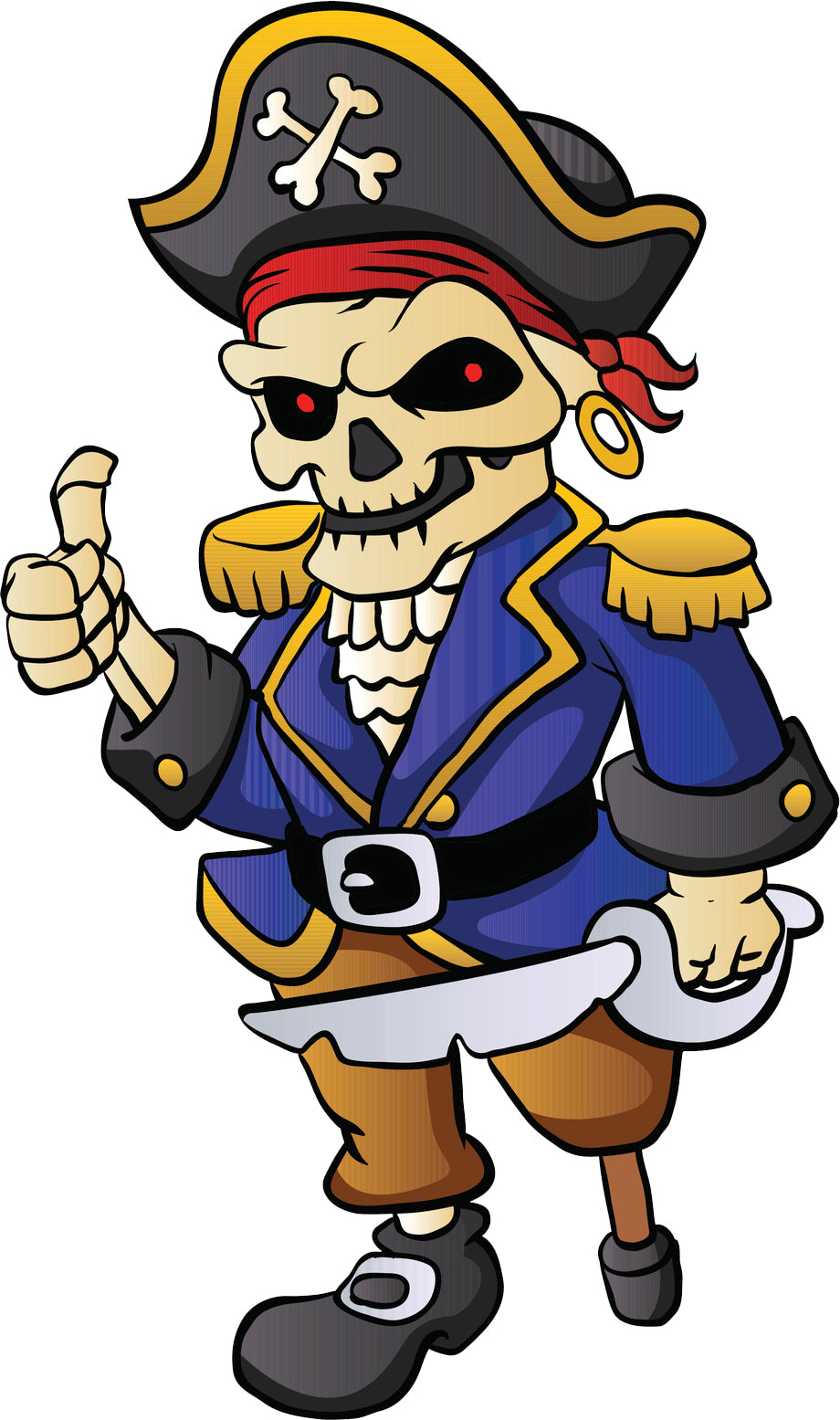 Cool Vintage Retro Cartoon Pirate - Skeleton Vinyl Decal Sticker