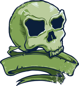 Cool Vintage Retro Creepy Green Skull and Ribbon Banner Cartoon Vinyl Decal Sticker