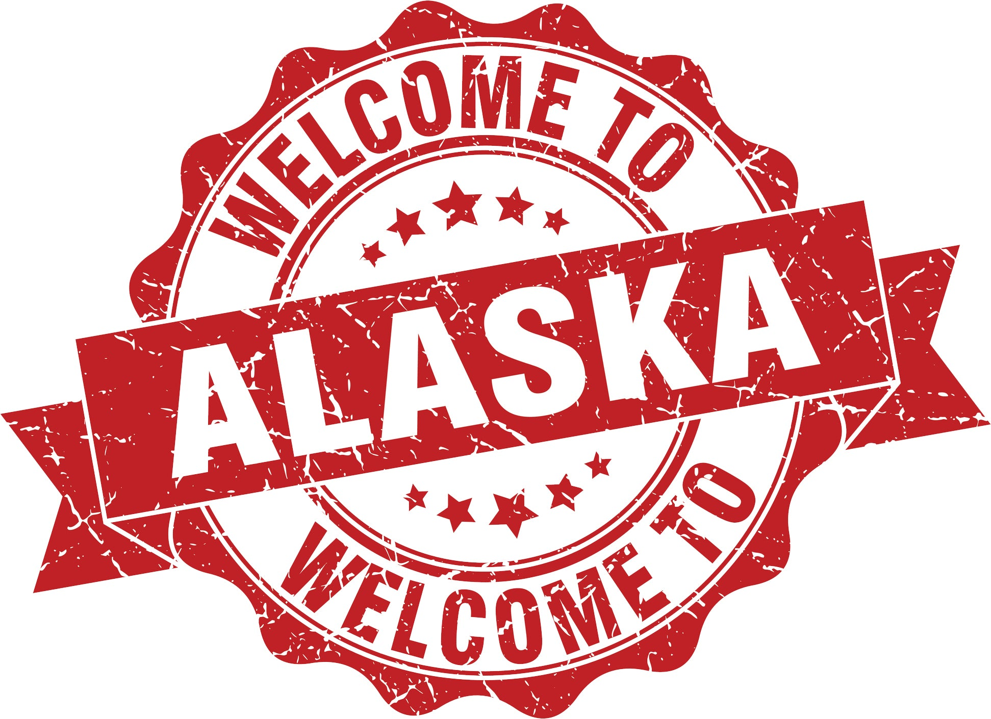 Cool Vintage Stamp Sign Cartoon Icon - Welcome to Alaska Vinyl Decal Sticker