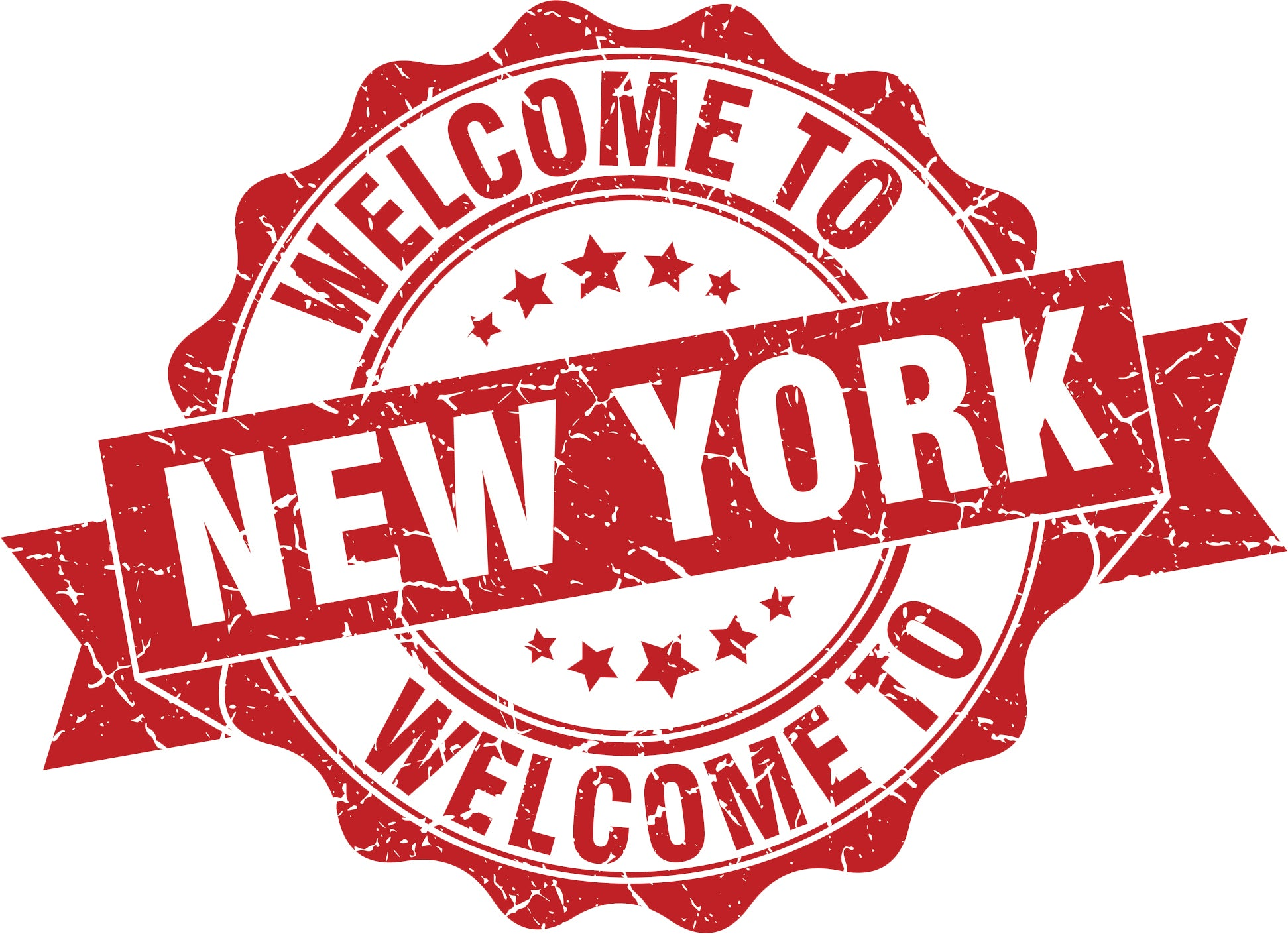 Cool Vintage Stamp Sign Cartoon Icon - Welcome to New York Vinyl Decal Sticker