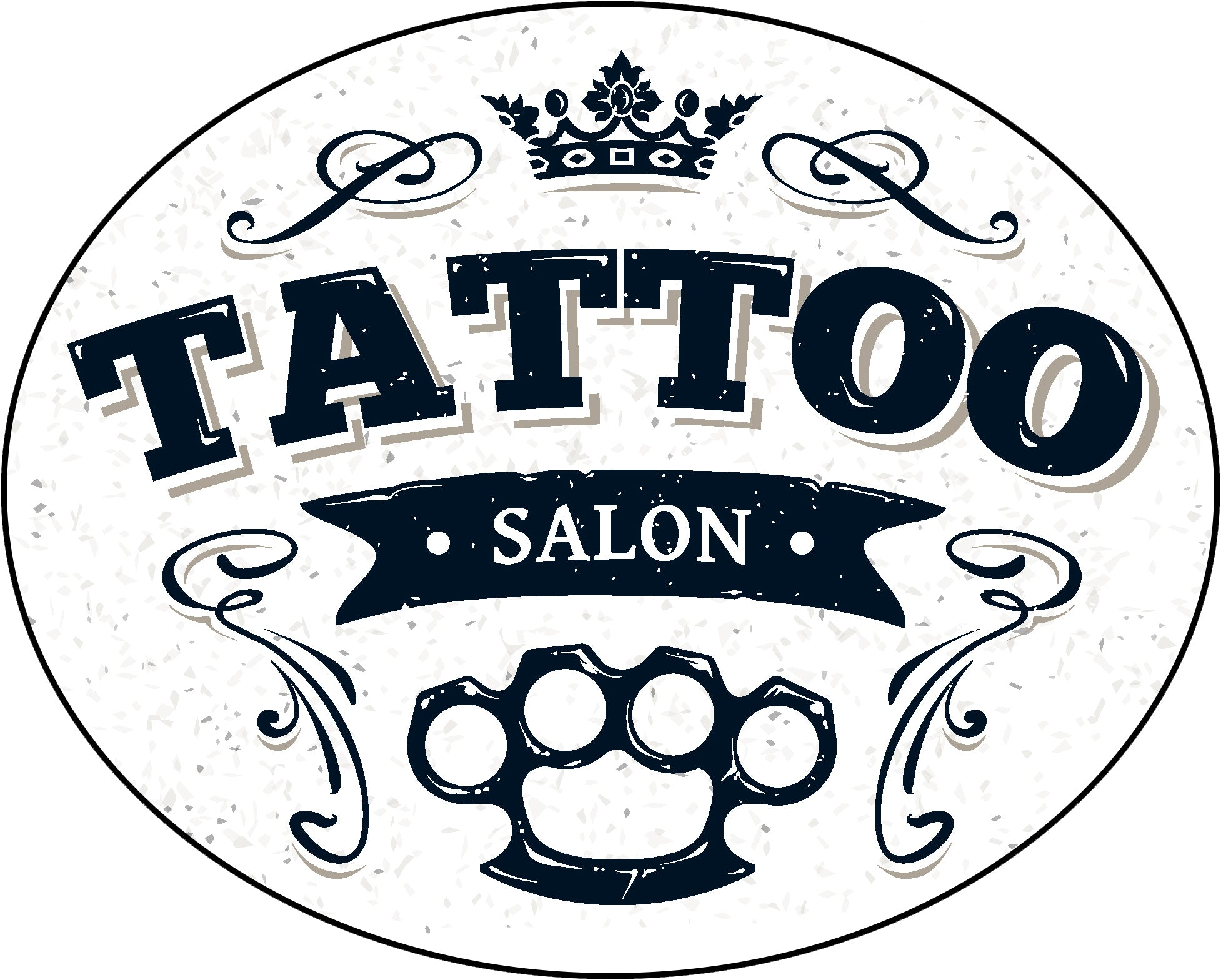 Cool Vintage Tattoo Studio Salon Cartoon Icon #3 Border Around Image As Shown Vinyl Decal Sticker