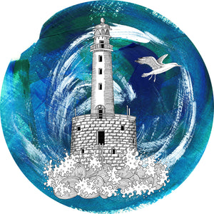 Cool Watercolor Paint Castle Lighthouse Art Vinyl Decal Sticker