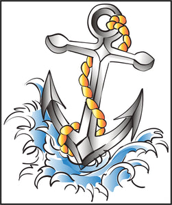 Cool Watercolor Water Anchor Tattoo Vinyl Decal Sticker