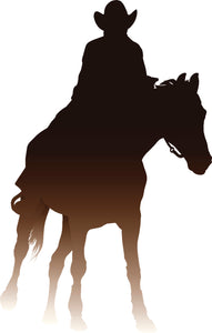 Cool Western Cowboy Sunset Ombre Cartoon Silhouette #1 Vinyl Decal Sticker