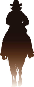 Cool Western Cowboy Sunset Ombre Cartoon Silhouette #2 Vinyl Decal Sticker